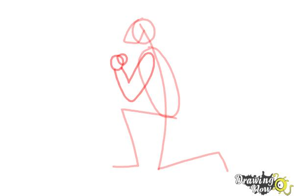 How to Draw a Person On Their Knees, Kneeling - Step 3