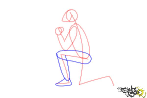 How to Draw a Person On Their Knees, Kneeling - Step 4