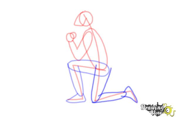 How to Draw a Person On Their Knees, Kneeling - Step 5