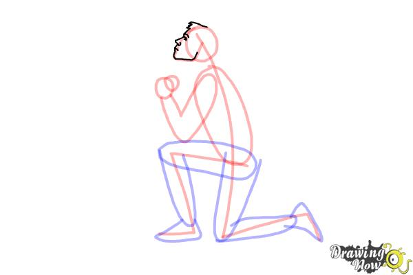 How to Draw a Person On Their Knees, Kneeling - Step 6