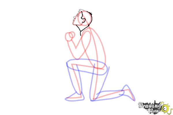 How to Draw a Person On Their Knees, Kneeling - Step 7