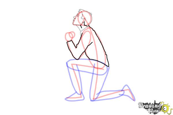 How to Draw a Person On Their Knees, Kneeling - Step 8
