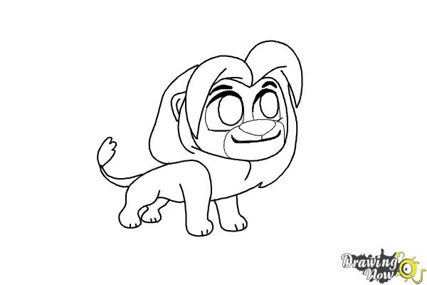 how to draw chibi simba from the lion king