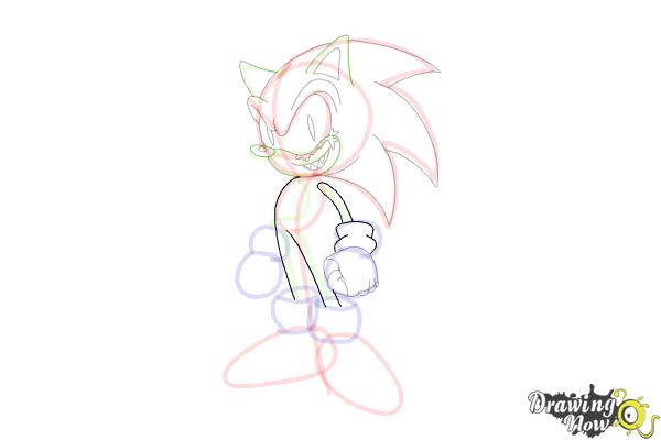 How to Draw Sonic.Exe - Step 13