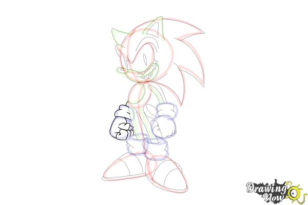 How to Draw Sonic.Exe - Step 17