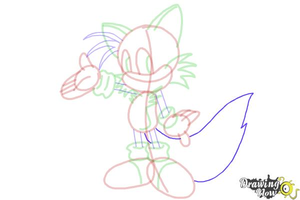 How to Draw Miles Prower, Tails from Sonic - Step 17