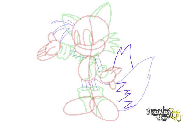 How to Draw Miles Prower, Tails from Sonic - Step 18