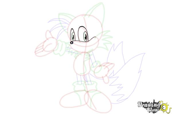 How to Draw Miles Prower, Tails from Sonic - Step 20