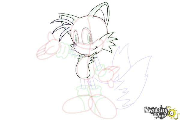 How to Draw Miles Prower, Tails from Sonic - Step 21