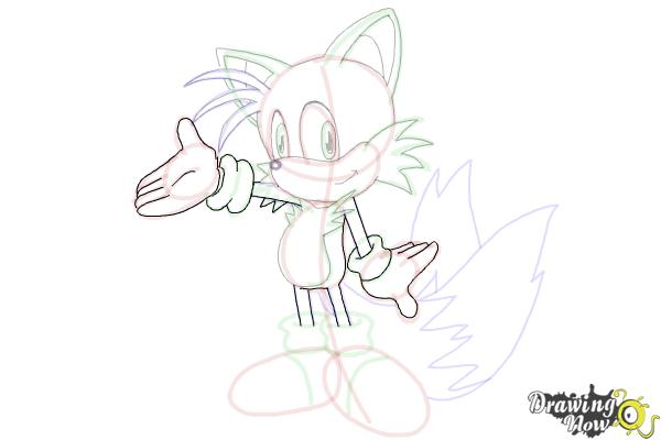 How to Draw Miles Prower, Tails from Sonic - Step 22