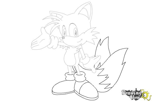 How to Draw Miles Prower, Tails from Sonic - Step 23