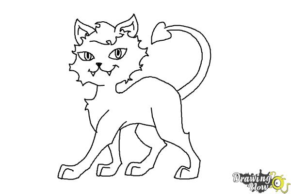 How to Draw Clawdeen Wolf Pet, Crescent - Step 9