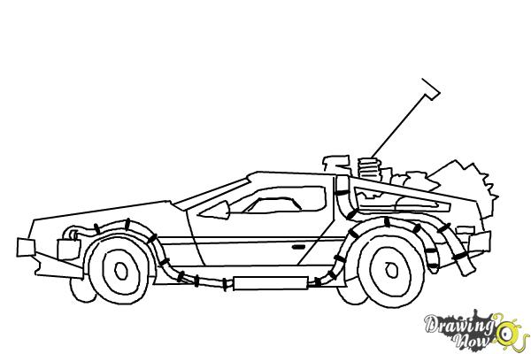 How to Draw The Delorean Time Machine from Back to The Future - Step 10