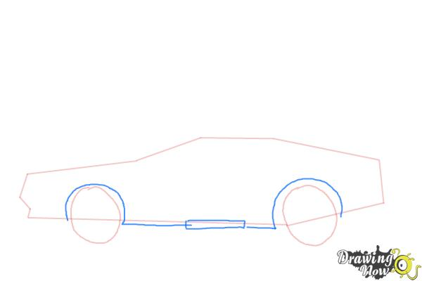 How to Draw The Delorean Time Machine from Back to The Future - Step 4