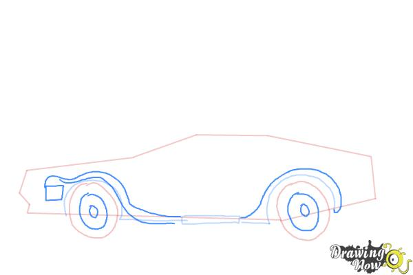 How to Draw The Delorean Time Machine from Back to The Future - Step 5