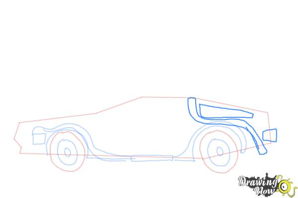 How to Draw The Delorean Time Machine from Back to The Future - Step 6