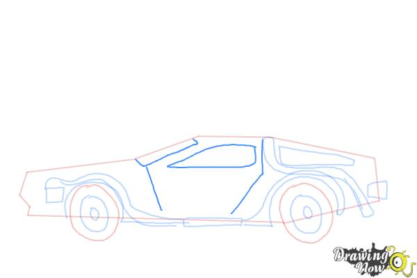 How to Draw The Delorean Time Machine from Back to The Future - Step 7