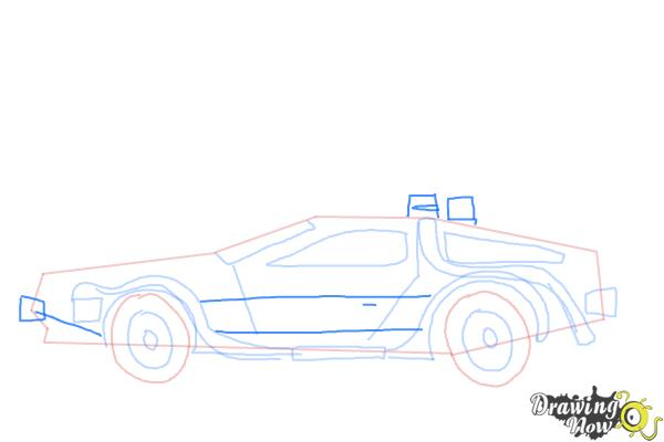 How to Draw The Delorean Time Machine from Back to The Future - Step 8
