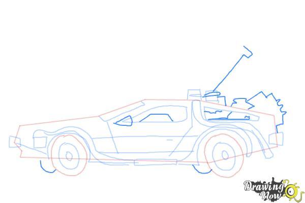 How to Draw The Delorean Time Machine from Back to The Future - Step 9