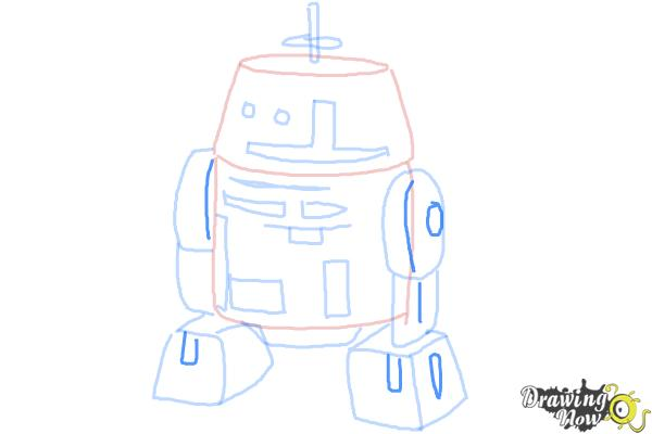 How to Draw Chopper, Grumpy Astromech Droid from Star Wars Rebels - Step 8