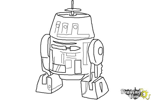 How to Draw Chopper, Grumpy Astromech Droid from Star Wars Rebels - Step 9