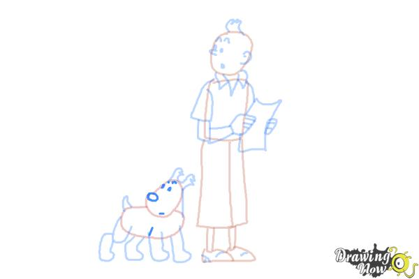 How to Draw Tintin And Snowy from The Adventures Of Tintin - Step 10