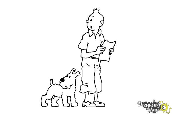 How to Draw Tintin And Snowy from The Adventures Of Tintin - Step 11