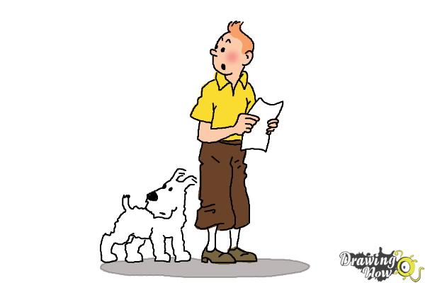How to Draw Tintin And Snowy from The Adventures Of Tintin - Step 12
