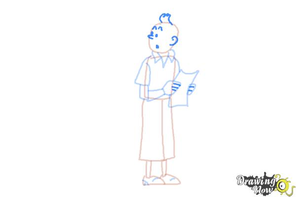 How to Draw Tintin And Snowy from The Adventures Of Tintin - Step 6