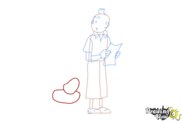 How to Draw Tintin And Snowy from The Adventures Of Tintin - Step 7