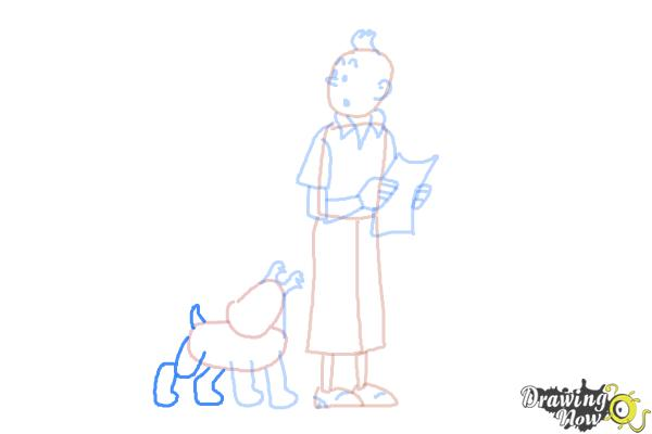How to Draw Tintin And Snowy from The Adventures Of Tintin - Step 9