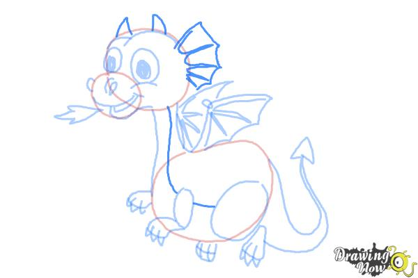 How to Draw a Cute Dragon - Step 10