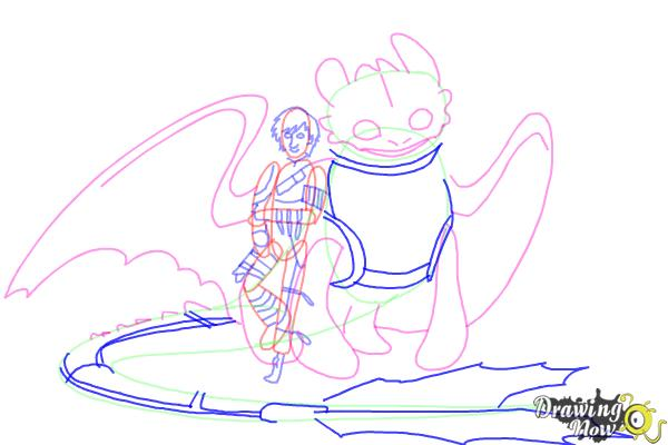 How to Draw Hiccup and Toothless from How to Train Your Dragon 2 - Step 10