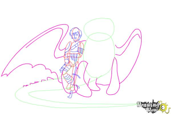 How to Draw Hiccup and Toothless from How to Train Your Dragon 2 - Step 8