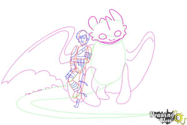 How to Draw Hiccup and Toothless from How to Train Your Dragon 2 - Step 9
