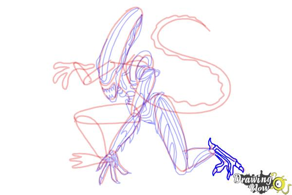 How to Draw a Xenomorph - Step 18
