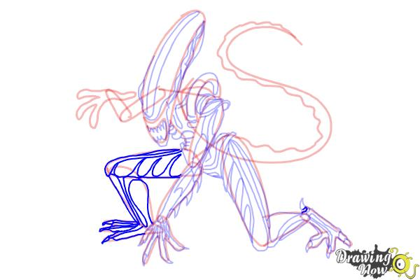 How to Draw a Xenomorph - Step 19