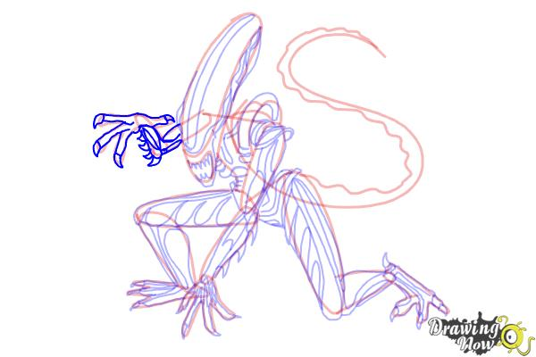 How to Draw a Xenomorph - Step 20
