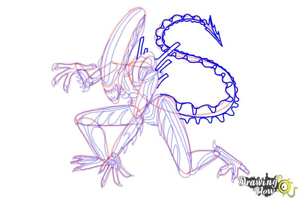 How to Draw a Xenomorph - Step 21