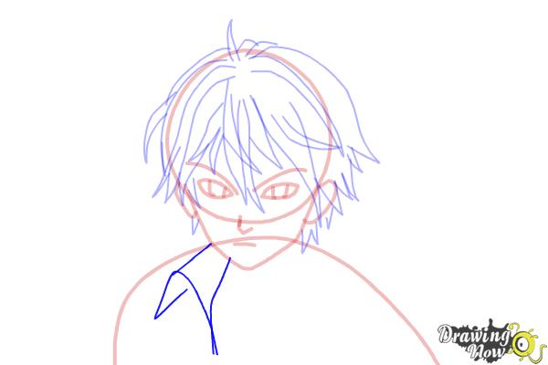 How to Draw Shu Ouma from Guilty Crown - Step 10