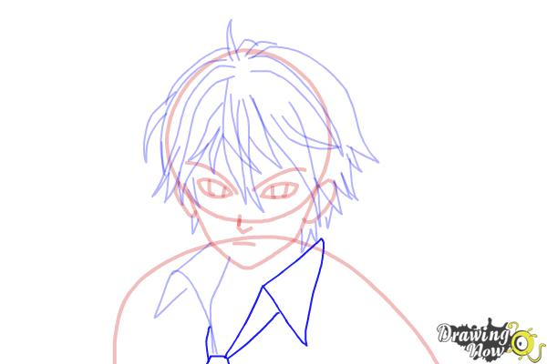 How to Draw Shu Ouma from Guilty Crown - Step 11