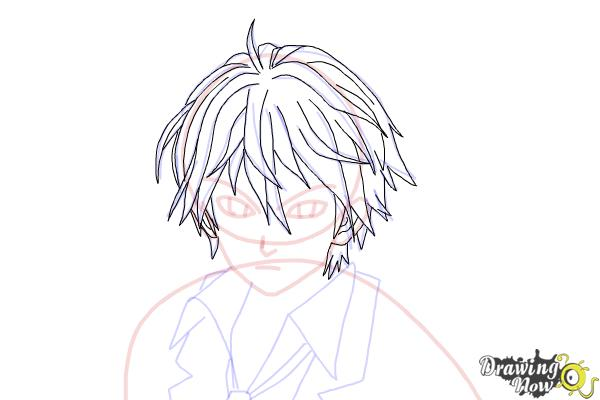 How to Draw Shu Ouma from Guilty Crown - Step 13