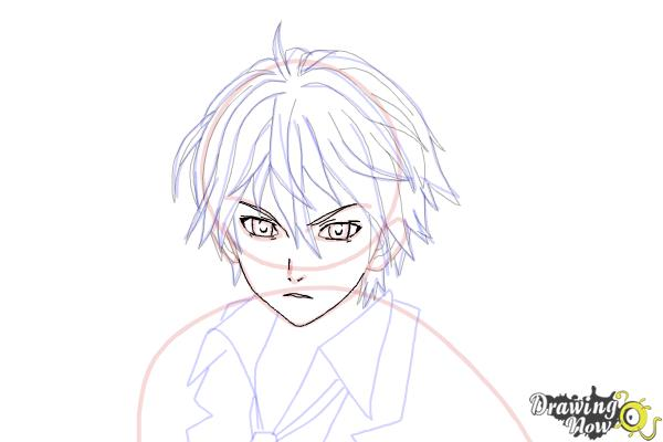 How to Draw Shu Ouma from Guilty Crown - Step 14