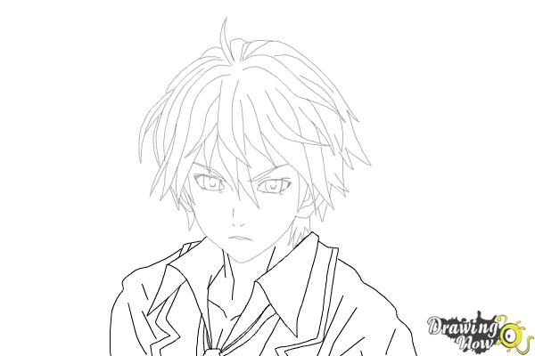 How to Draw Shu Ouma from Guilty Crown - Step 15
