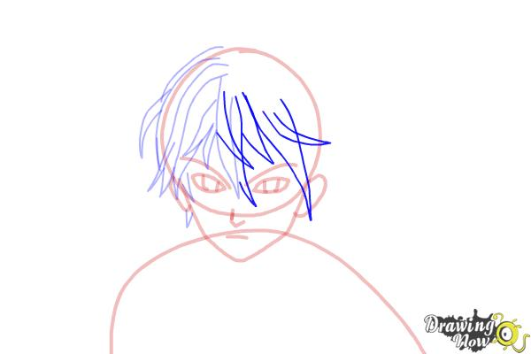 How to Draw Shu Ouma from Guilty Crown - Step 8