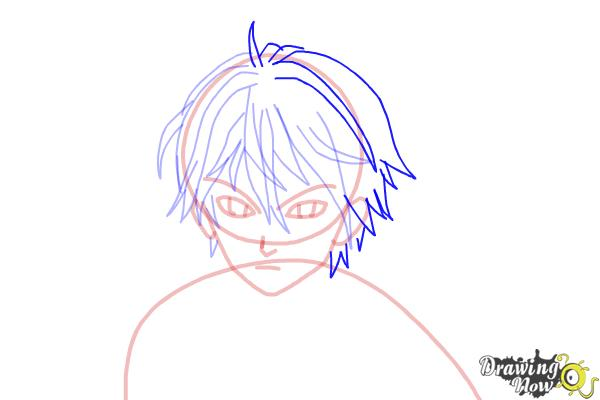 How to Draw Shu Ouma from Guilty Crown - Step 9