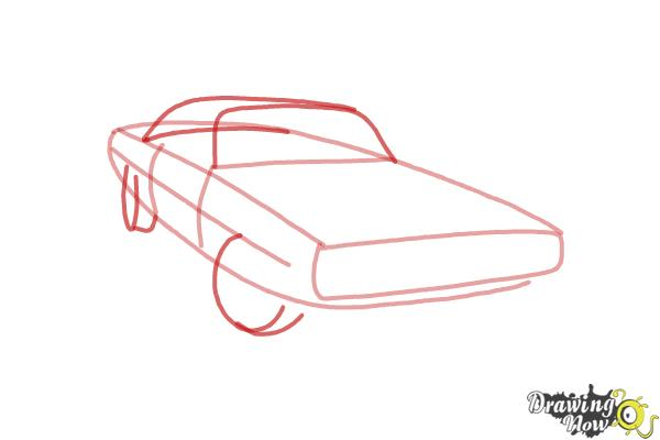 How to draw a 1970 Dodge Charger from The Fast and the Furious - Step 3