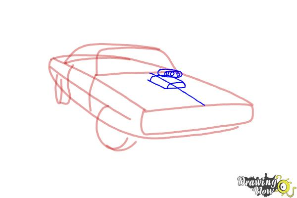 How to draw a 1970 Dodge Charger from The Fast and the Furious - Step 4