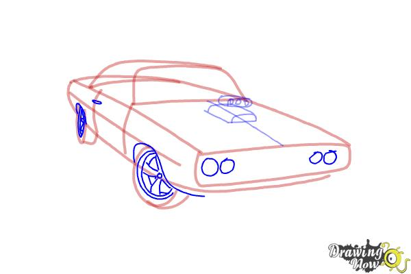 How to draw a 1970 Dodge Charger from The Fast and the Furious - Step 5