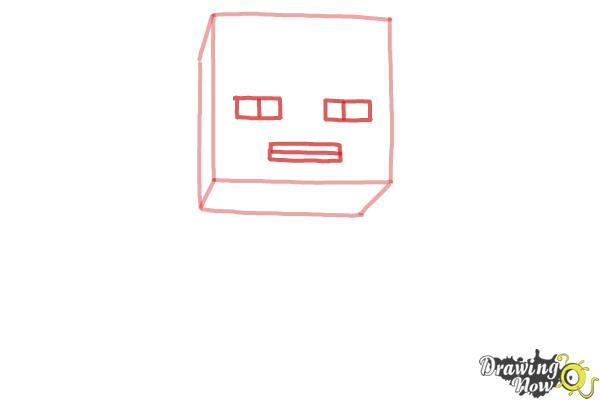 How to Draw a Chibi Steve from Minecraft - Step 2